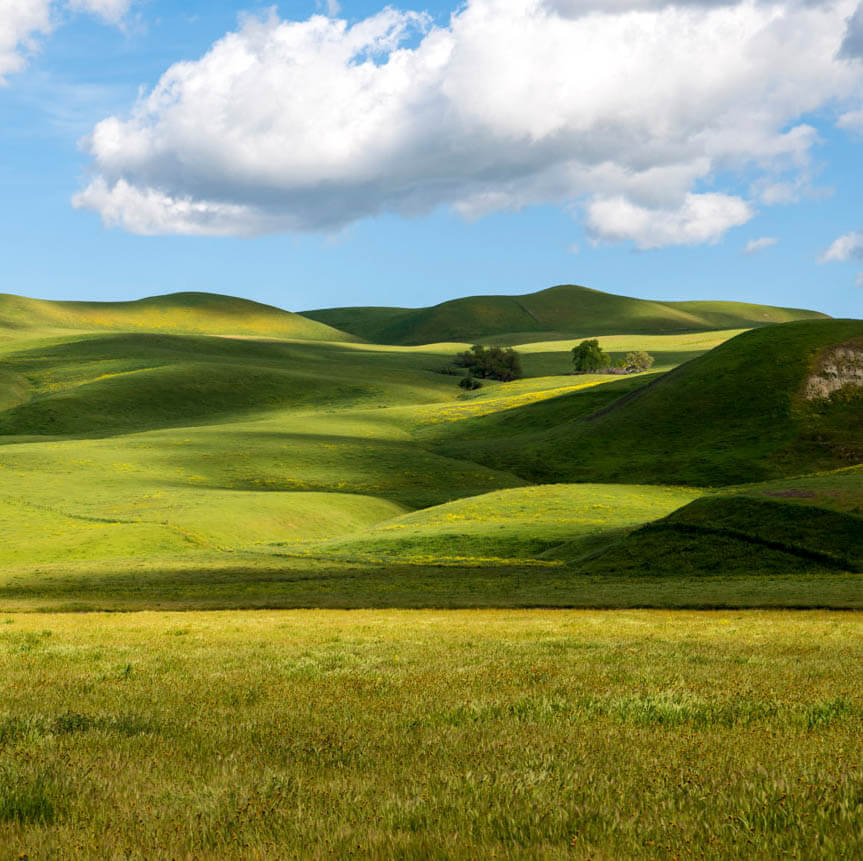 rolling hills and clouds